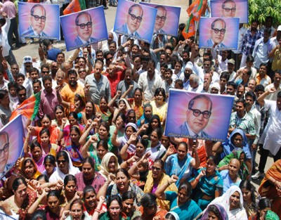 ambedkar cartoon protest